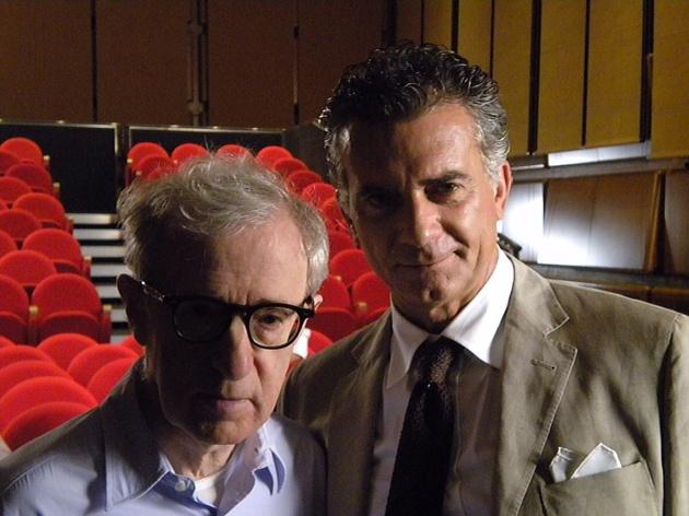 Fabio Massimo Bonini in compagnia di Woody Allen in occasione delle riprese di 'To Rome with love'